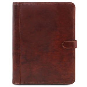 Front View Of The Brown Leather Document Case