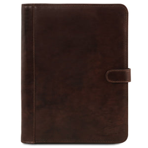 Front View Of The Dark Brown Leather Document Case