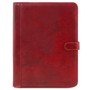 Front View Of The Red Leather Document Case