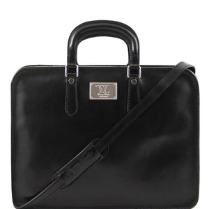 Front View Of The Alba Women's Black Leather Briefcase