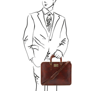 Sketch Of Man Holding The Alba Women's Brown Leather Briefcase