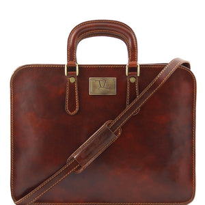 Front View Of The Alba Women's Brown Leather Briefcase
