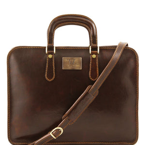 Front View Of The Alba Women's Dark Brown Leather Briefcase