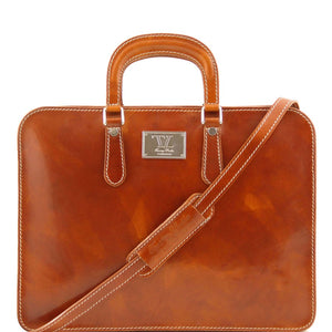 Front View Of The Alba Women's Honey Leather Briefcase