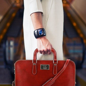 Women Holding The Red Womens Leather Briefcase