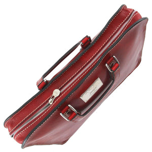 Top View Of The Red Womens Leather Briefcase