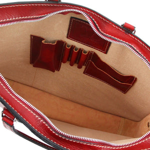 Internal View Of The Red Womens Leather Briefcase