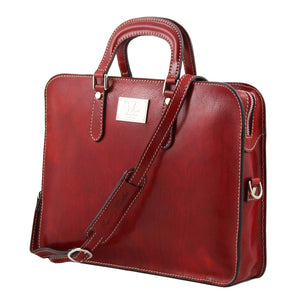 Angled View Of The Red Womens Leather Briefcase