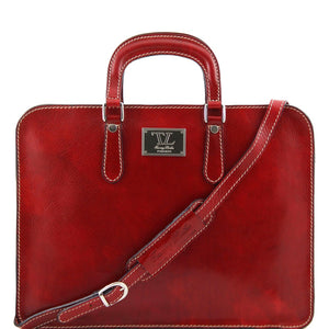 Front View Of The Alba Women's Red Leather Briefcase