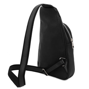 Angled And Shoulder Strap View Of The Black Soft Leather Crossbody Bag