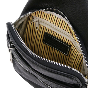 Internal Features View Of The Black Soft Leather Crossbody Bag