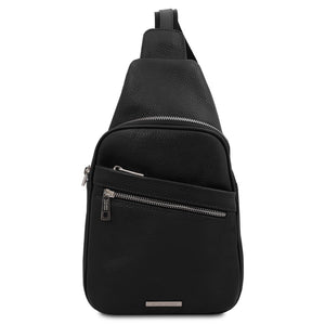 Front View Of The Black Soft Leather Crossbody Bag