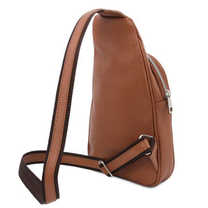 Angled And Shoulder Strap View Of The Cognac Soft Leather Crossbody Bag