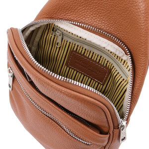 Internal Features View Of The Cognac Soft Leather Crossbody Bag