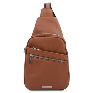 Front View Of The Cognac Soft Leather Crossbody Bag