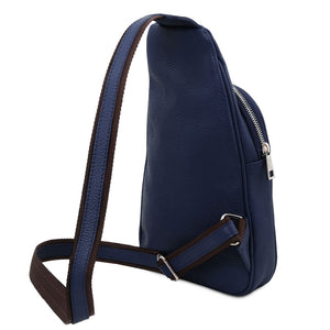 Angled And Shoulder Strap View Of The Dark Blue Soft Leather Crossbody Bag