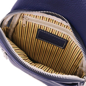 Internal Features View Of The Dark Blue Soft Leather Crossbody Bag