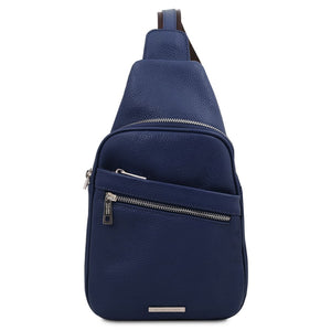 Front View Of The Dark Blue Soft Leather Crossbody Bag