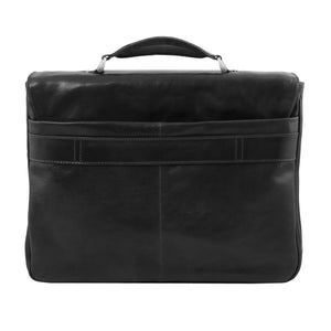Rear View Of The Black Leather Laptop Briefcase
