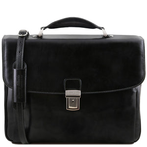 Front View Of The Black Alessandria Leather Laptop Briefcase