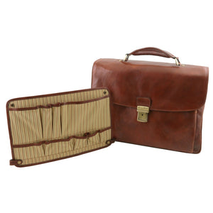 Smart Module With The Brown Leather Laptop Briefcase