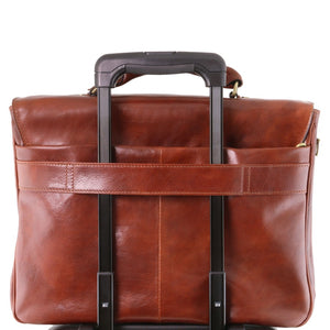 Options View Of The Brown Leather Laptop Briefcase