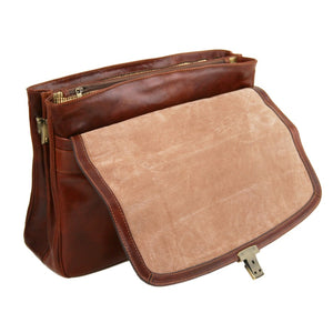 Opening Flap View Of The Brown Alessandria Leather Laptop Briefcase