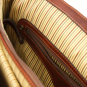 Internal Zip Pocket View Of The Brown Leather Laptop Briefcase