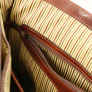 Open Zipper View Of The Brown Leather Laptop Briefcase