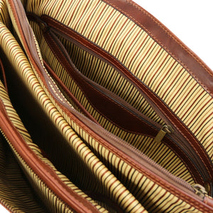 Zipper View Of The Brown Leather Laptop Briefcase