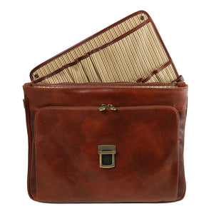 Smart Module Insertion View Of The Brown Leather Laptop Briefcase