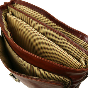 Internal Compartment View Of The Brown Leather Laptop Briefcase