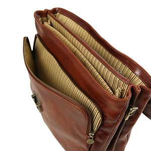 Angled Internal View Of The Brown Leather Laptop Briefcase