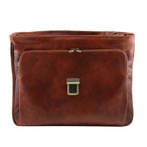 Front Features View Of The Brown Leather Laptop Briefcase