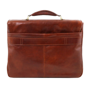 Rear View Of The Brown Leather Laptop Briefcase