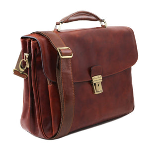 Angled View Of The Brown Alessandria Exquisite Briefcase