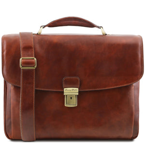 Front View Of The Brown Alessandria Leather Laptop Briefcase