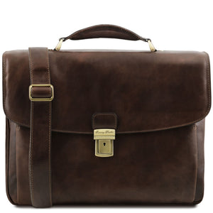 Front View Of The Dark Brown Alessandria Leather Laptop Briefcase