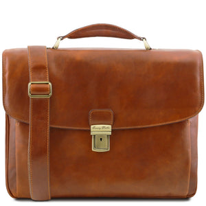 Front View Of The Honey Alessandria Leather Laptop Briefcase
