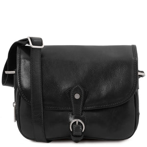 Front View Of The Black Leather Shoulder Bag