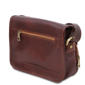 Rear View Of The Brown Leather Shoulder Bag