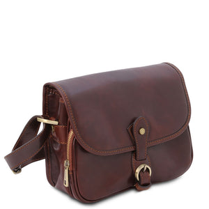 Angled View Of The Brown Leather Shoulder Bag