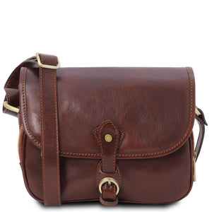 Front View Of The Brown Leather Shoulder Bag