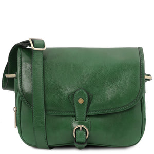 Front View Of The Forest Green Leather Shoulder Bag