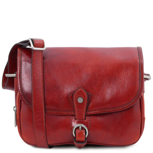 Front View Of The Red Leather Shoulder Bag