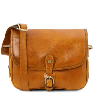 Front View Of The Yellow Leather Shoulder Bag