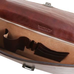 Internal Pocket View Of The Brown Leather Briefcase Bag