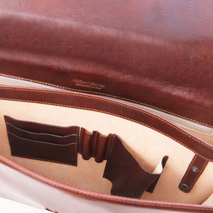 Compartment View Of The Brown Leather Briefcase Bag