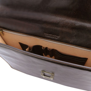 Compartment View Of The Dark Brown Leather Briefcase Bag