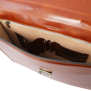 Compartment View Of The Honey Leather Briefcase Bag